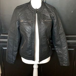 Faux leather black jacket